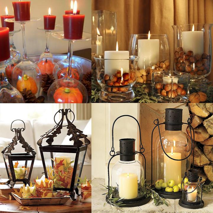 Осений интерьер: композиции из свечей