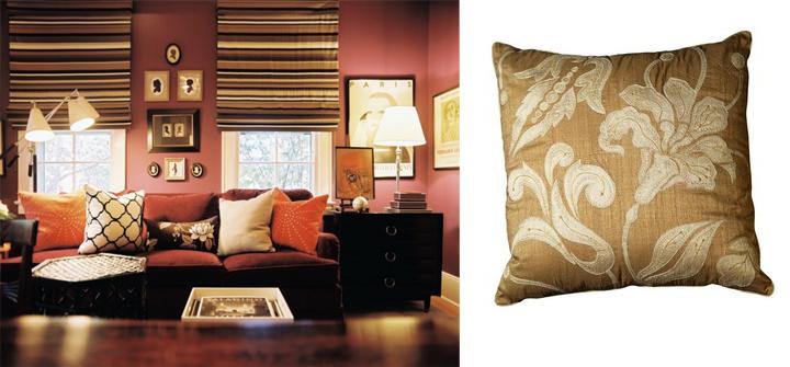 осенний интерьер: яркие подушки