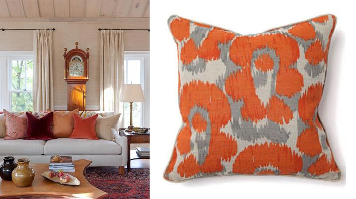 Яркие подушки в осеннем интерьере