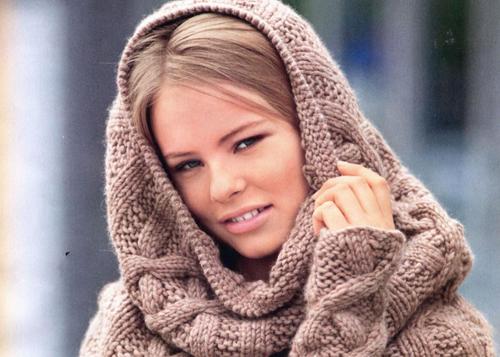 женский зимний шарф из барана и альпаки